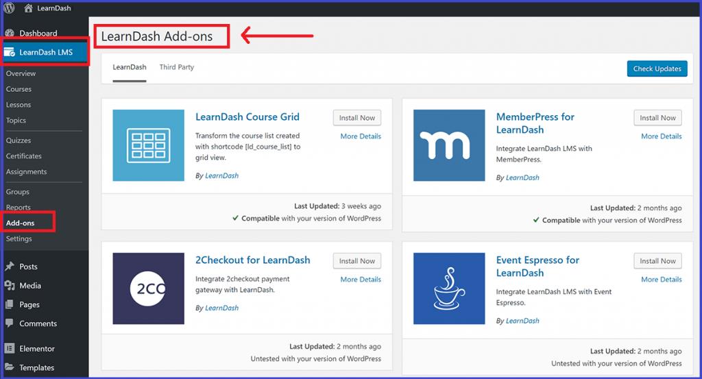 Install Add-ons for LearnDash plugin