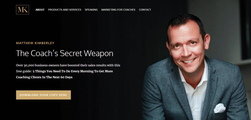 Matthew Kimberley-Business coaching website